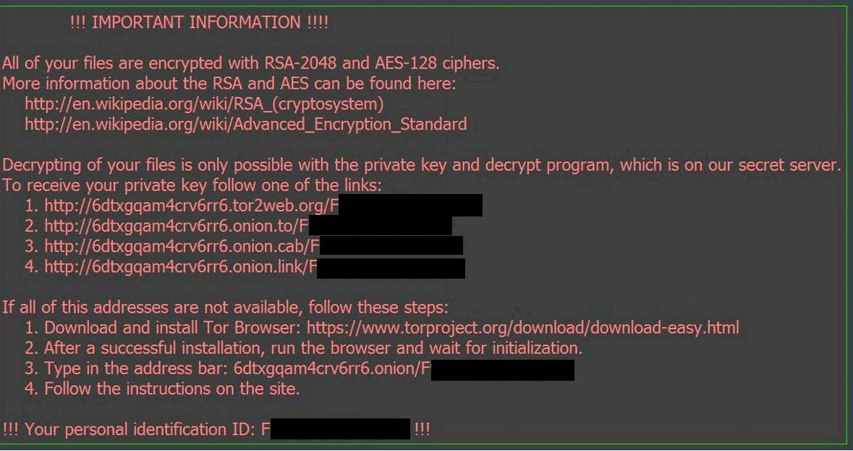 Locky ransom warining