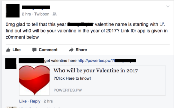 Facebook Valentine Post