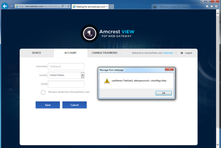 Amcrest XSS Proof