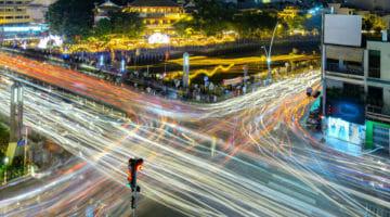 Busy nighttime traffic in Ho Chi Minh CIty, Vietnam