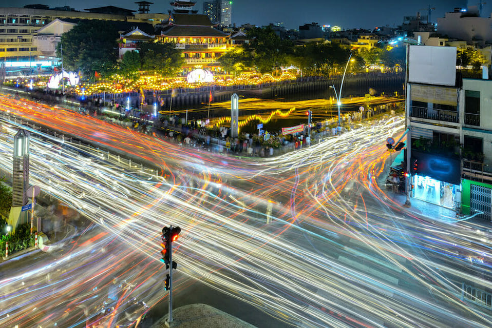 Busy nighttime traffic in Ho Chi Minh CIty, Vietnam