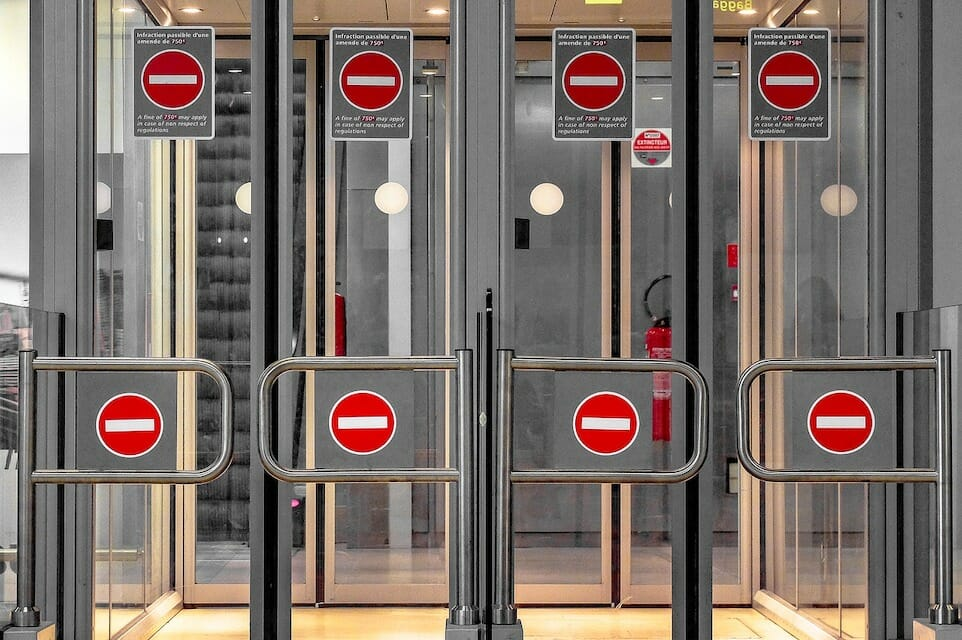 Airport security checkpoint with closed gates